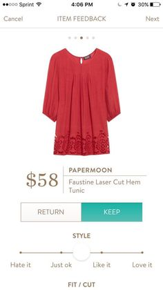 SF: I like the large hem detailing, color and front pleats of this tunic