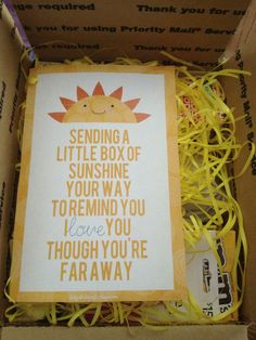 Sunshine in a box. Snail mail to college.
