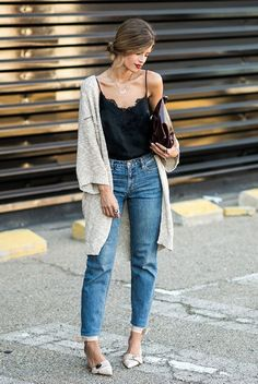 spring outfit, fall outfit, casual outfit, easy outfit, night out outfit, dinner outfit, night out outfit - beige chunky cardigan, black cami top, mom jeans, nude pointy toe heels, burgundy clutch #NightOutOutfits #camisoutfit