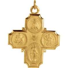 """14K Yellow Gold Four Way Cross Pendant, 1.25"""" x 1.25"""" (Sacred Heart of Jesus Medal, a Miraculous Medal, St. Joseph Medal and St. Christopher Medal)"""
