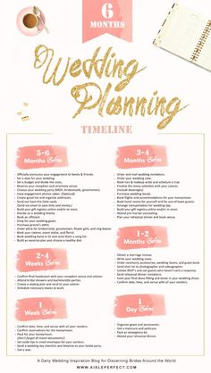 6 Month Wedding Planning Timeline | Aisle Perfect | aisleperfect.com/... #wedding #inspiration #weddingideas