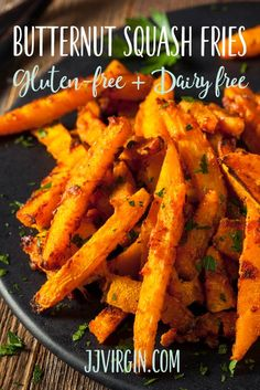 Recipe: Butternut Squash Fries – JJ Virgin Butternut Squash Fries are just right for a cozy, tasty family meal. They've got plenty of vitamins and fiber, plus yummy flavor and natural sweetness. Get this gluten free, dairy free, kid friendly recipe now. Dairy Free Recipes, Whole Food Recipes, Vegetarian Recipes, Cooking Recipes, Healthy Recipes, Gluten Free, Paleo Meals, Budget Recipes, Whole30 Recipes
