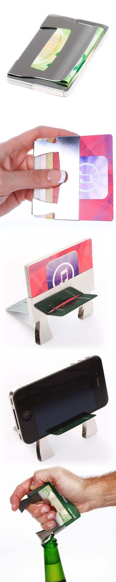 improv - the minimalist wallet with a stand-up routine. It holds 6 cards, a bit of cash, and transforms into a smartphone stand. It even includes a bottle opener and is available with optional RFID blocking plates. Designed to last a lifetime.  Only $22.