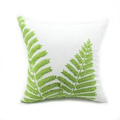 Farmhouse Pillow Fern Embroidered Cushion Cover, Beige Green Linen Pillow Tropical Decor Decorative pillow for couch, gorgeous housewarming gift, beige cotton linen throw pillow cover with green fern botanical embroidery. Green Pillows, Floral Throw Pillows, Diy Pillows, Decorative Pillows, Sofa Cushions, Large Pillows, Couch Pillow Covers, Pillow Shams, Cushion Covers