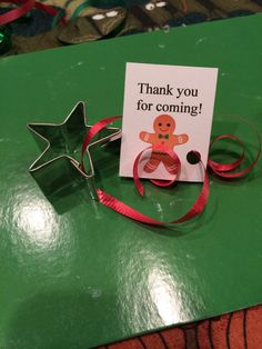 Cookie exchange favors. Small cookie cutter and thank you tag.