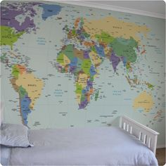 Removable Wallpaper - BEST IDEA EVER!!!!   Saves paint from kids' handprints (and worse), stickers, etc., and gives them some geography sense!  And then...move on!  Genius.
