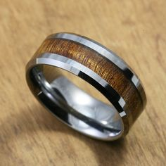 Mangagement Ring :)  Tungsten Carbide Ring with Koa Wood Inlay (8mm width, flat style beveled edges)