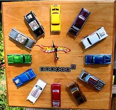 Hot Wheels Car Clock I had a similar idea when my son was little - never got around to actually making it : ( Boy Room, Kids Room, Bedroom Boys, Room Baby, Diy Bedroom, Bedrooms, Matchbox Autos, Clock For Kids, Kids Clocks