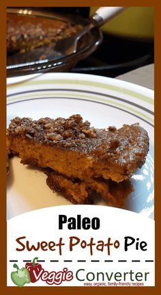 This Paleo sweet potato pie recipe is custardy, sweet, tasty, and has a cookie crumb/pecan crust that is absolutely perfect. Perfect for dessert or a snack! Best Paleo Recipes, Pie Recipes, Whole Food Recipes, Great Recipes, Dessert Recipes, Favorite Recipes, Fast Recipes, Pie Dessert, Gluten Free Desserts