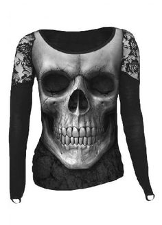 Spiral Direct Solemn Skull Shoulder Lace Top - Size: S S012F449 The Solemn Skull Shoulder Lace Top by Spiral Direct is the ultimate in goth tops! It has finger loops at the end of the long sleeves which also feature black lace panels on the shoulders, not to menti http://www.MightGet.com/may-2017-1/spiral-direct-solemn-skull-shoulder-lace-top--size-s-s012f449.asp
