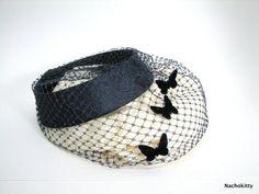 Vintage Ladies Hat Fascinator Navy Blue Butterflies