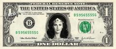 Lynda Carter WONDER WOMAN - Real Dollar Bill Cash Money Collectible Memorabilia Celebrity by Vincent-the-Artist, $7.77 USD