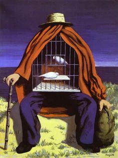 """Surrealismo: """"o terapeuta"""" feito por René Magritte. No começo não entendi muito bem a pintura, mas depois de pesquisar, descobri que cada coisa significa algo, como o chapéu e a bengala."""