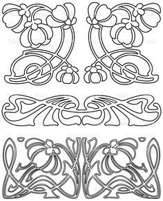 Elementos de diseño de estilo Art Decó de 3 (Vector).