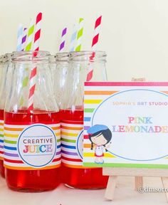 Creative juice at an art birthday party!  See more party ideas at CatchMyParty.com!