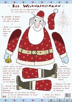 Printable Jointed Paper Dolls   Der Weihnachtsmann   paper dolls Noel Christmas, Christmas Paper, Christmas Crafts, Paper Puppets, Paper Toys, Fun Crafts, Crafts For Kids, Paper Crafts, Christmas Activities
