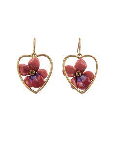 #LesNéréides #Jewel #earrings #enamel #heart #flower #love #StValentineShop on #www.lesnereides-usa.com