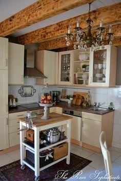Barn Kitchen. Stunning wood beams!