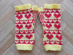 Hand knit fingerless mittens  Hearts by CuteCreationsByLea on Etsy
