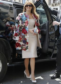 Bloom into spring with Melania's floral Dolce & Gabbana jacket #DailyMail Click 'Visit' to buy now