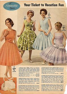 Beautiful early 60s styles and colours of summer dresses. 1960s vintage fashion dress retro clothing