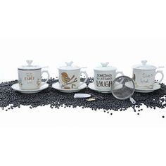 5-Piece Madeline Teacup & Strainer Set