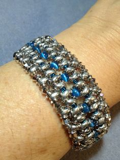 Superduo & 4mm glass bead cuff bracelet with a magnetic clasp / $20 manoncreativemoments@gmail.com