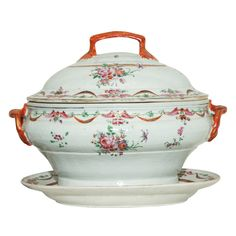 Chinese Export Famille Rose  Soup Tureen, Cover and Stand