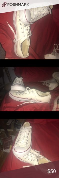 Brand new white converse, worn twice Worn 2 times to school pep rally's. I️ will be washing them completely to make sure there are no flaws and there like brand new again. Converse Shoes Sneakers