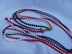Patriotic Red White Blue Vintage Wrap Necklace by EauPleineVintage