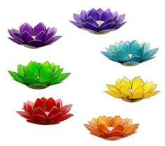 7-Chakra-Lotus-Kerzenhalter-Capiz-Gold-oder-Silberrand-7-Farben-Teelichter