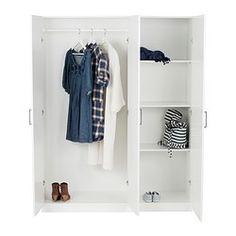 IKEA - DOMBÅS, Kleiderschrank, , Versetzbare Böden und Kleiderstange für bedarfsangepasste Aufbewahrung.Verstellbare Scharniere stellen sicher, dass die Türen gerade hängen.