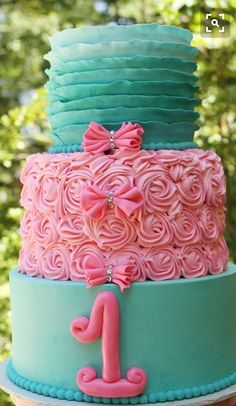 Ombré Teal Ruffles and Pink Rosettes Cake Little Mermaid Cakes, Mermaid Cupcakes, Little Mermaid Birthday, Girl Birthday, Birthday Parties, Birthday Ideas, Birthday Cakes, Pretty Cakes, Cute Cakes