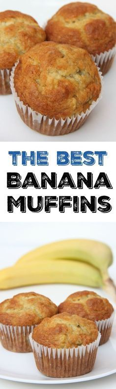 The best banana muffin recipe. The perfect breakfast recipe idea to use overripe. The best banana muffin recipe. The perfect breakfast recipe idea to use overripe bananas. This muffin recipe is so easy and the best muffins weve ever. Best Banana Muffin Recipe, Muffin Recipes, Banana Nut Muffins, Best Banana Muffins Ever, Banana Recipes Easy, Banana Breakfast Recipes, Banana Pancakes, Mini Muffins, Breakfast Ideas