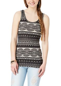 image of Soft Brushed Black & Ivory Tribal Tank Top