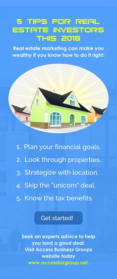 5 Tips for Real Estate Investors This 2018 #Tips #realestate #investors   www.accessbizgroup.net Real Estate Investor, Real Estate Marketing, Do It Right, Financial Goals, Investors, Get Started, Make It Yourself, Group, How To Plan