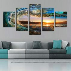 5 Piece sea wave Painting large Canvas Wall Art huge Modern Ocean Decor Printed Painting Canvas Pictures for Living Room Panel Wall Art, Wall Art Sets, Wall Art Prints, Canvas Prints, Painting Canvas, Canvas Canvas, Spray Painting, Canvas Frame, Deco Turquoise