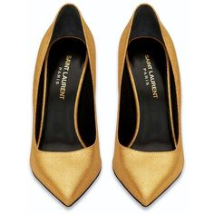 Saint Laurent Classic Paris 105 Escarpin Pump In Gold Metallic Leather ($399) ❤ liked on Polyvore featuring shoes, pumps, heels, high heels, scarpe, metallic gold shoes, yves saint laurent pumps, high heel shoes, genuine leather shoes and yves saint laurent