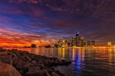 Detroit Skyline with Ship by dbreckles