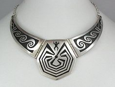 Hand made Native American Indian Jewelry; Hopi  Silver Man in a Maze Collar Necklace