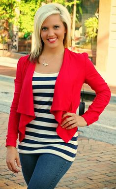 """""""Drake"""" Cardigan/Blazer.  S, M, L.  Shown in Red.  $24.00.  Available at 105 West Boutique in Abbeville, SC.  (864) 366-WEST.  Shipping $5."""