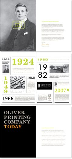Pops of color, nice white space, numbers as graphic elements, large full-bleed photos. Oliver Printing Co. Brochure  by Christine Wisnieskior.