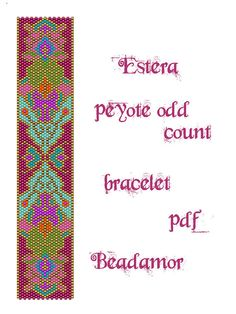 Peyote bracelet pattern made with Delica 11 whose colours you can easily change to any kind of cylinder or seed beads size 11. Width: 3cm/1.2 Length: