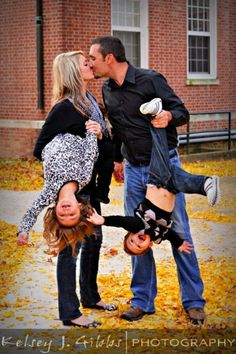 This is a great idea for a fun family portrait. Kids don't cooperate most of the time anyway, so why not make it fun and silly?