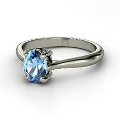 Oval Solitaire Ring, Oval Blue Topaz Sterling Silver Ring from Gemvara