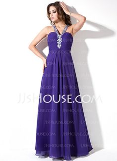 Prom Dresses - $139.99 - A-Line/Princess V-neck Floor-Length Chiffon Prom Dress With Ruffle Beading (018004819) http://jjshouse.com/A-Line-Princess-V-Neck-Floor-Length-Chiffon-Prom-Dress-With-Ruffle-Beading-018004819-g4819