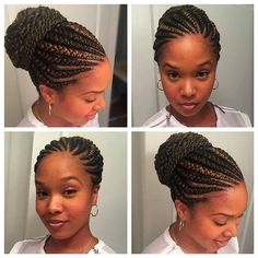 Ghana braids are growing in popularity and are a wonderful style. Check out thes… Ghana braids are growing in popularity and are a wonderful style. Check out these unique & hip styles of Ghana braids/Banana braids for your next braids hairdo! Ghana Braids Hairstyles, African Hairstyles, Girl Hairstyles, Black Hairstyles, Cornrows Updo, Ghana Braids Updo, Braids In A Bun, Hairstyles 2018, Ghana Cornrows