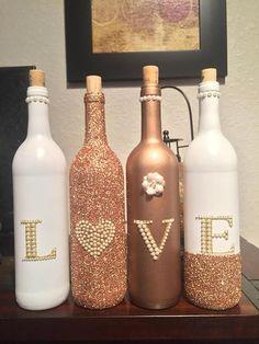 Rose Gold and White LOVE Decorative Wine Bottle Set #DIYHomeDecorWineBottles #winebottle