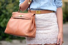caramel bag + lace skirt + jeans shirt