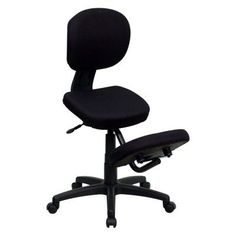Flash Furniture Ergonomic Kneeling Posture Task Chair with Back - Black Fabric - WL-1430-GG